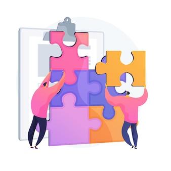 Zarządzanie projektami współpracowników. budowanie zespołu, praca zespołowa menedżerów wykonawczych, współpraca kolegów. postacie pracowników układające puzzle.