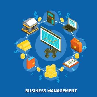 Zarządzanie przedsiębiorstwem izometryczny okrągły skład