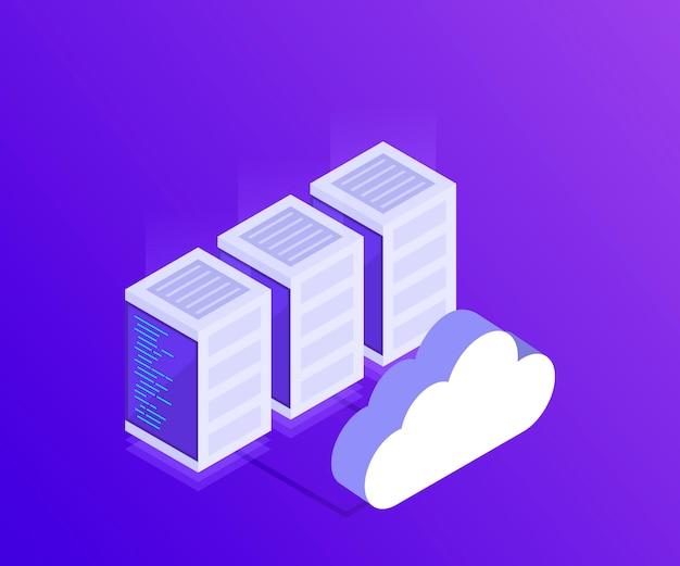 Zarządzanie siecią danych. mapa izometryczna z serwerami sieci biznesowych. dane w chmurze i urządzenia do synchronizacji. styl izometryczny 3d. nowoczesna ilustracja