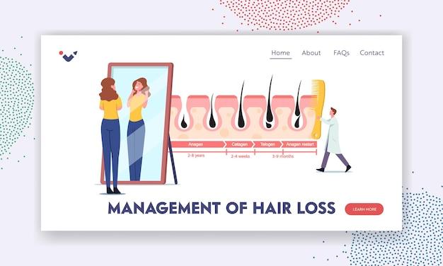 Zarządzanie szablonem strony docelowej wypadania włosów. kobieta podziwiaj swojego kudłatego w lustrze. mały lekarz postać z ogromnym grzebieniem w infografiki cykle wzrostu i utraty włosów. ilustracja wektorowa kreskówka ludzie