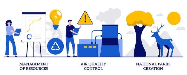 Zarządzanie zasobami, kontrola jakości powietrza, koncepcja tworzenia parków narodowych z małymi ludźmi. zestaw ilustracji streszczenie wektor kontroli środowiska. energia odnawialna, metafora zapobiegania zanieczyszczeniom.