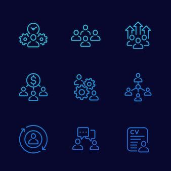 Zarządzanie zespołem, zestaw ikon linii hr