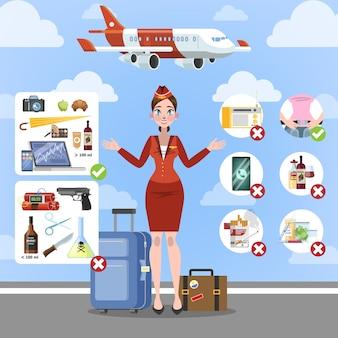 Zasady bezpieczeństwa na pokładzie samolotu. plansza lotniska dla pasażera. płynna ilość w bagażu lub bagażu. ilustracja na białym tle płaski wektor