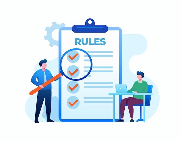 Zasady listy kontrolnej koncepcja ilustracji wektorowych płaski