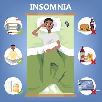 Zasady zdrowego snu. rytuał snu zapewniający dobry sen w nocy. mężczyzna leżał na poduszce. broszura dla osób z bezsennością. ilustracja na białym tle płaski wektor