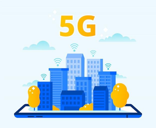 Zasięg sieci 5g. miasto bezprzewodowy internet, sieci piątej generacji i szybka miejska ilustracja wektorowa połączenie 5g