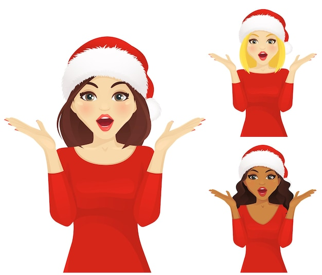 Zaskoczona kobieta w świątecznym santa hat