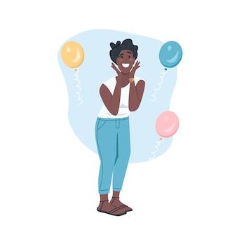 Zaskoczony, afrykańska amerykańska kobieta płaski kolor szczegółowy charakter