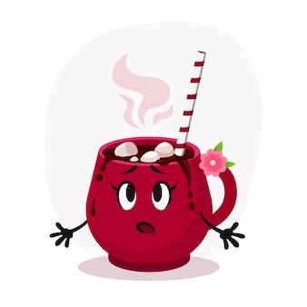 Zaskoczony kreskówka płaski czerwony kubek świąteczny ilustracja. gorąca czekolada z piankami marshmallow. ilustracja wektorowa