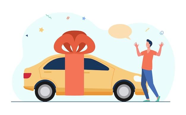 Zaskoczony młody człowiek dostaje samochód jako prezent. żółty pojazd, czerwona wstążka, łuk. ilustracja kreskówka