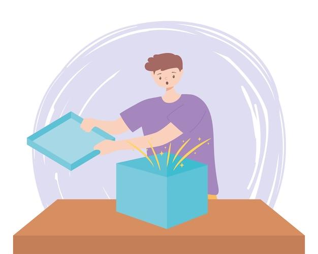 Zaskoczony, młody człowiek, otwierając pudełko na ilustracji wektorowych tabeli