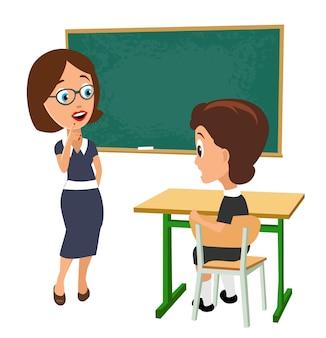 Zaskoczony nauczyciel z otwartymi ustami i uczennicą siedzącą przy biurku obróconym na pół. płaskie wektor ilustracja kolor na białym tle.