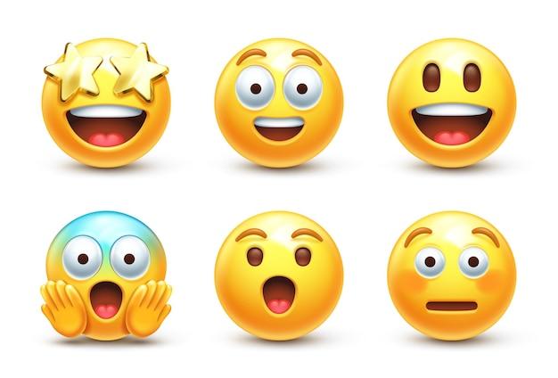 Zaskoczony stylizowany emoji 3d