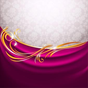 Zasłona z różowego materiału, złota winieta