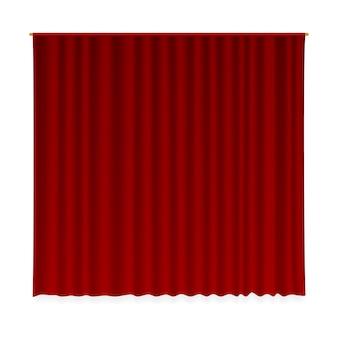 Zasłona zamknięta. realistyczna aksamitna draperia dekoracyjna z tkaniny. luksusowy wystrój wnętrz z zamkniętą czerwoną zasłoną