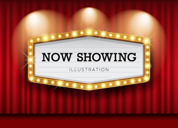 Zasłony cinema theatre i światło szyldowe.
