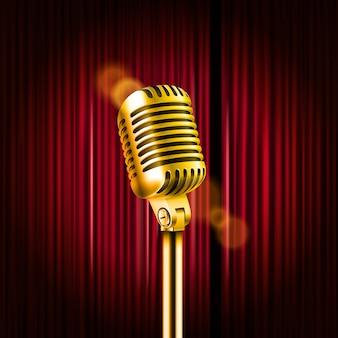 Zasłony sceniczne z błyszczącym mikrofonem