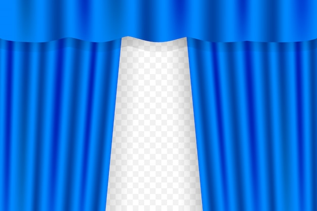Zasłony sceniczne z niebieskiej kurtyny, opery, kina lub teatru. ilustracja.