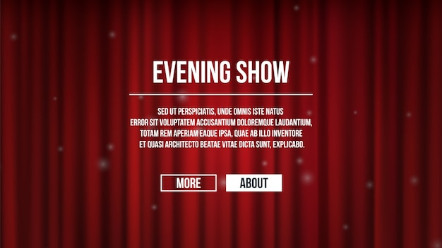 Zasłony zasłonięte. tło czerwone zasłony teatralne satynowe. pokaż szablon banera czasu, stronę docelową rozrywki. kurtyna czerwona dla ilustracji wydajności rozrywki