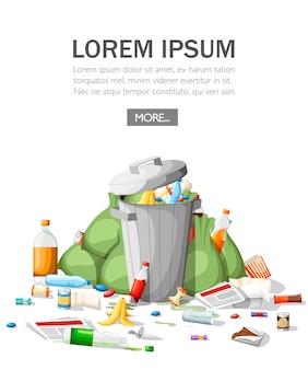 Zaśmiecanie śmieci. kupa śmieci w stylu. stalowy kosz na śmieci pełen śmieci. zielone torby, żywność, papier, plastik. ilustracja na białym tle. miejsce na twój tekst