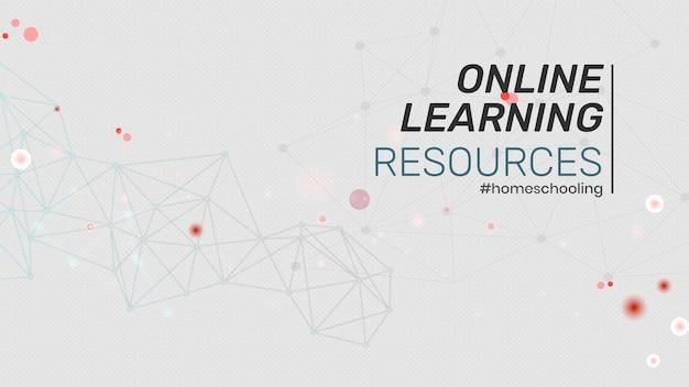 Zasoby edukacyjne online podczas pandemii koronawirusa wektor szablonu społecznego