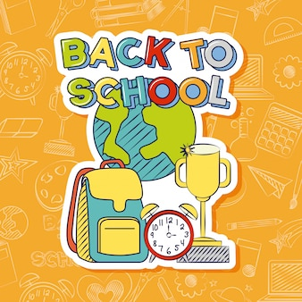 Zasoby graohiczne z powrotem do szkoły, torby, zegara i trofeum