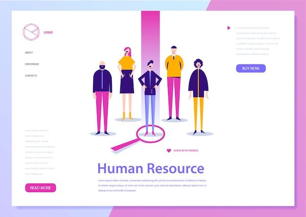 Zasoby ludzkie, hr con ept, strona docelowa. poszukiwanie pracy, ilustracja ludzi. baner rekrutacyjny, plakat