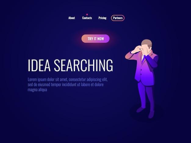 Zasoby ludzkie hr koncepcja izometrycznego menedżera ikon, wyszukiwanie pomysłów, człowiek patrzy przez ciemną lornetkę