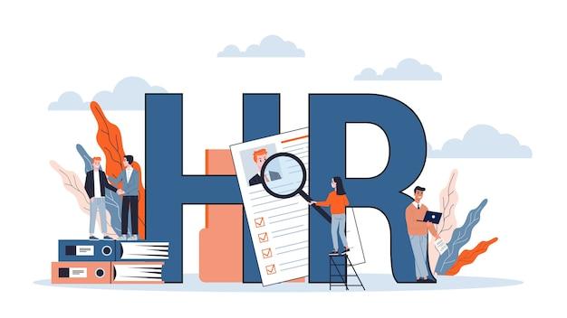 Zasoby ludzkie i koncepcja baneru internetowego rekrutacji. rozmowa kwalifikacyjna i kierownik hr. zatrudnienie i praca. szukaj pracy w internecie. ilustracja w stylu