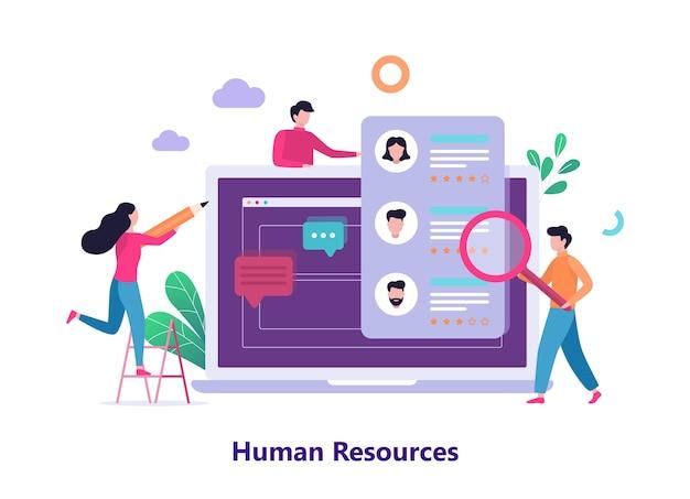 Zasoby ludzkie i koncepcja baneru internetowego rekrutacji.