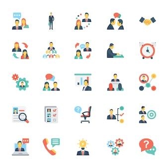Zasoby ludzkie i zarządzanie kolorowe ikony