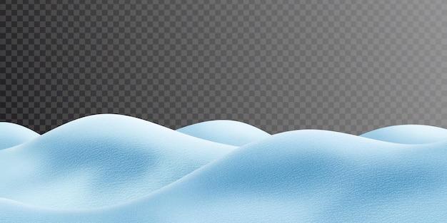 Zaspy śnieżne na przezroczystym tle, obraz panoramiczny, ilustracja wektorowa