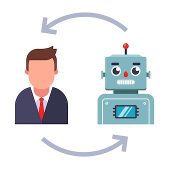 Zastąpienie żywych pracowników robotami. płaska ilustracja na białym tle.