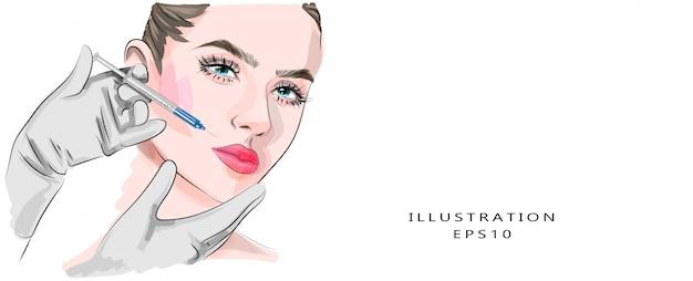 Zastrzyki kosmetyczne i kosmetologia estetyczna. kosmetyczka wykonuje zastrzyk upiększający dla kobiety. lifting i odmładzanie
