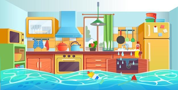 Zatkany zlewozmywak wnętrze kuchni z zatkanym odpływem uszkodzona rura wodna z wyciekiem w stylu kreskówki
