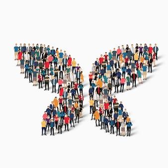 Zatłoczeni ludzie tworzą motyla