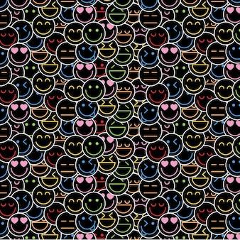 Zatłoczony szablon wzoru neonowych emotikonów