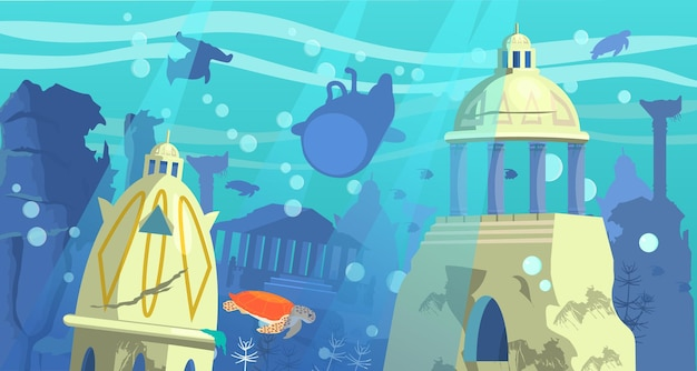 Zatopione miasto atlantydy z batyskafem podwodnymi zwierzętami i skałami w tle