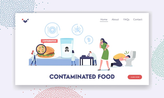 Zatrucie pokarmowe, szablon strony docelowej skażonych produktów. chore postacie nudności i wymioty w toalecie, malutcy lekarze z badanymi składnikami lupy w laboratorium. ilustracja wektorowa kreskówka ludzie