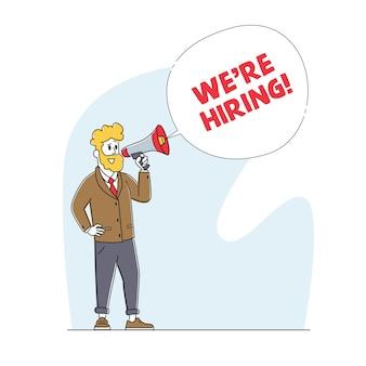 Zatrudniamy concept. manager character search zatrudnianie pracowników na stanowisko przy użyciu głośnika. zasoby ludzkie, prezentacja w mediach społecznościowych dotycząca zatrudnienia. rekrutacja, polowanie na głowy