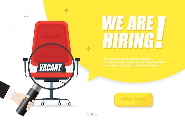 Zatrudniamy, koncepcja banera, wolne stanowisko. puste krzesło biurowe jako znak wolnego miejsca pracy na białym tle. wyślij nam swoje cv. ilustracja.