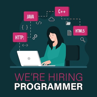 Zatrudniamy szablon oferty pracy programisty z kobietą pracującą na ilustracji laptopa