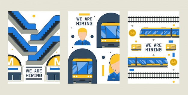 Zatrudniamy zestaw kart, ilustracji wektorowych. elementy stacji metra, w tym pociąg, peron, bilet, kierowca, drzwi wejściowe, karta,