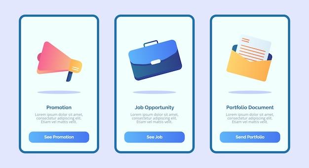 Zatrudnianie dokumentu portfolio możliwości zatrudnienia dla aplikacji mobilnych szablon strony banera ui z trzema odmianami nowoczesnego stylu płaskiego koloru