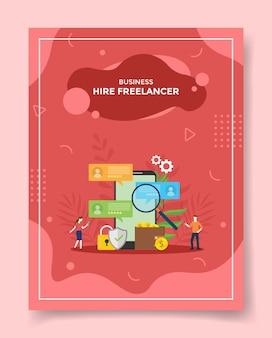 Zatrudnianie osób pracujących na zlecenie freelancerów wokół smartfona lupe lupa znajdź profil kandydata kłódka tarcza portfel pieniądze moneta