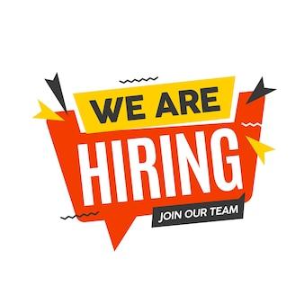 Zatrudnianie rekrutacja otwarta wakat projekt etykiety informacyjnej, którą zatrudniamy, dołącz do ogłoszenia naszego zespołu