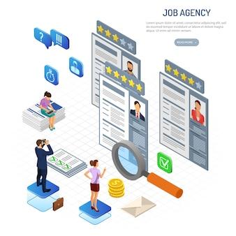 Zatrudnienie izometryczne online, rekrutacja, sprawdzanie cv i koncepcja zatrudniania. zasoby ludzkie agencji pracy w internecie. ludzie z lornetką, lupą i życiorysem. izometryczny