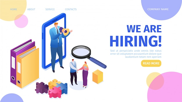 Zatrudnienie, rekrutacja, kariera i ilustracja strony docelowej zatrudnienia. rozmowa kwalifikacyjna, agencja rekrutacyjna, stanowisko hr managera z megafonem do zatrudniania kandydatów na pracowników.