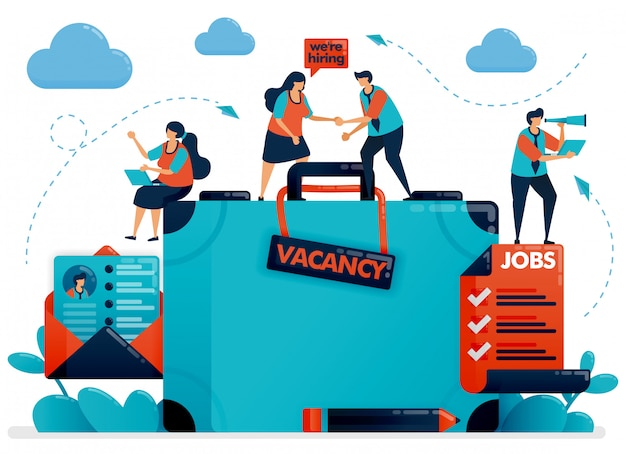 Zatrudnienie rekrutacji. ilustracja koncepcja wakat