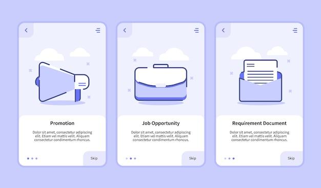 Zatrudnij dokument z wymaganiami dotyczącymi możliwości zatrudnienia ekran wprowadzający dla aplikacji mobilnych szablon strony baneru ui z trzema odmianami nowoczesnego stylu płaskiego konturu